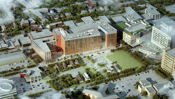 Rendering of the new building of the UB School of Medicine and Biomedical Sciences.