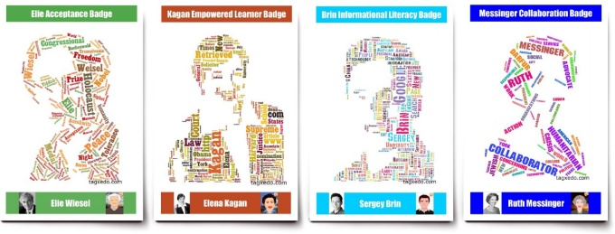 Four digital badges, featuring Elie Wiesel, Elena Kagan, Sergey Brin and Ruth Messinger, that were created to award students participating in an educational program for 21st century skills