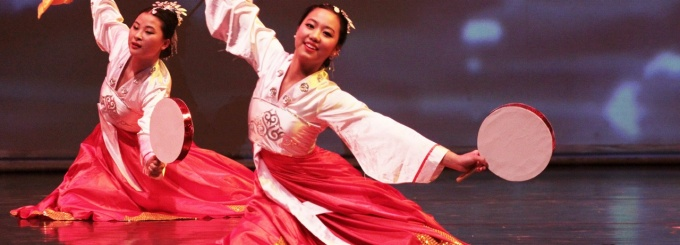 Student dancers in traditional Chinese attire.