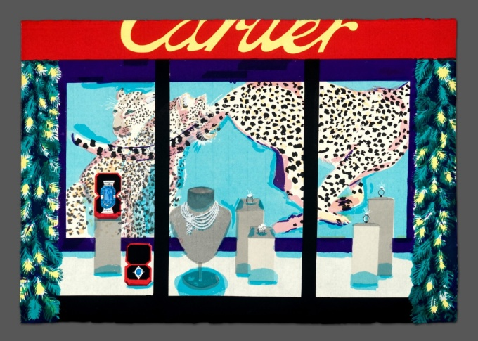 A print by Stella Ebner that shows a Cartier jewelry store window
