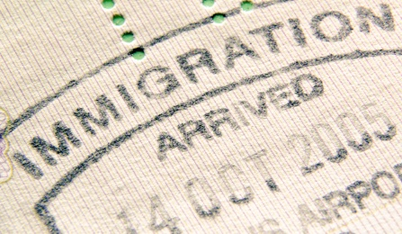 An immigration passport stamp.