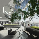 Rendering of the interior of Jin Young Song's Emboss Tower design, showing the diagrid structure from the inside.