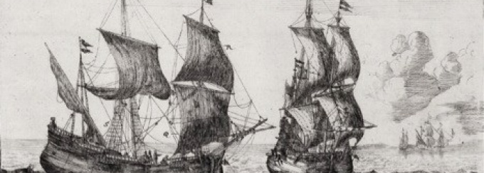 A woodcut of two Elizabethan era ships sailing on the ocean.