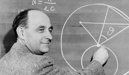 Enrico Fermi at blackboard.