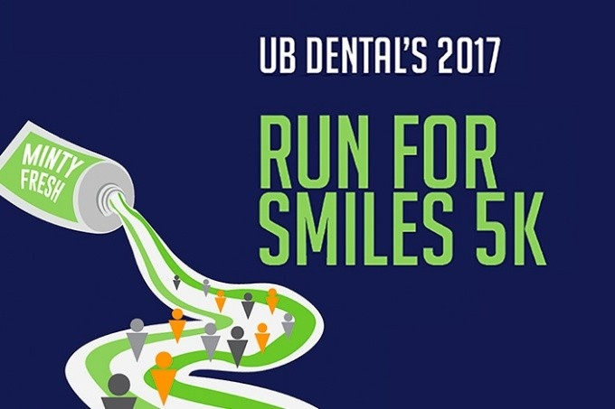 Graphic with run for smiles 5k in green letters over a race trip made of toothpaste squeezed from a tube.