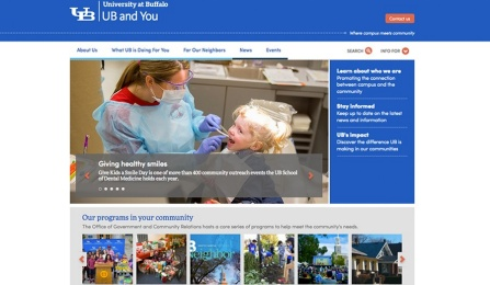 Screen shot of the new UB and You website.