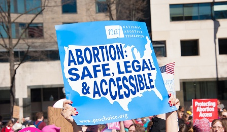 "a protester carries a sign that reads ""abortion: safe, legal and accessible."