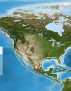 Image of possible migration routes through North America for ancient mammals.