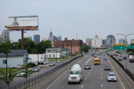 Photo of the winning billboard visible along the inbound Kensington Expressway in Buffalo.