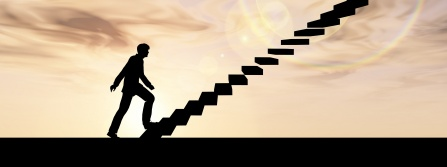a silhouette of a person climbing a staircase.