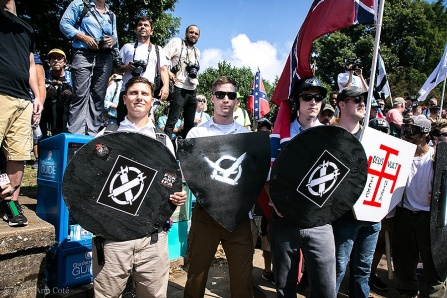 White nationalists demonstrate in Charlottesville, VA. on August 11, 2017.