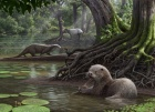 A forest scene with two giant otters, one eating a mollusk.
