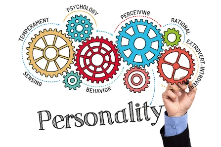 Photo-illustration of the concept of personality featuring gears representing the various components of personality: temperament, psychology, perception, rationality, sensing, behavior, extroversion-introversion.