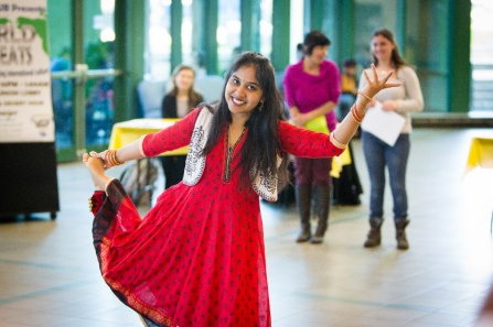 Saahithi Yammanuru of the Indian Graduate Student Association demonstrates an Indian dance during International Education Week.